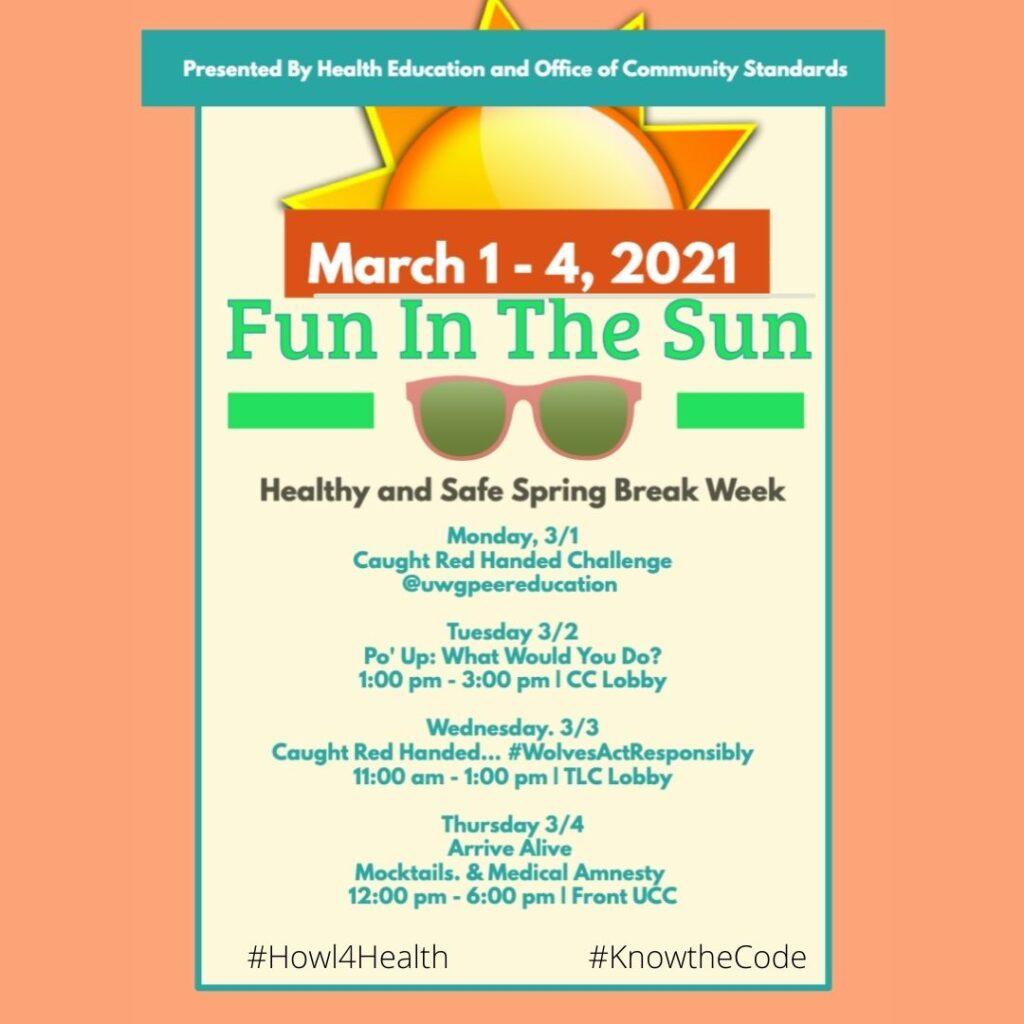 Health Education hosts UWG'S 2021 Healthy & Safe Spring Break Week